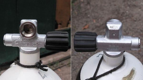 Спарочные (правый и левый) вентили для баллонов дайвинг с резиновыми ручками.